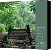 Zen Words Of Wisdom Canvas Prints - Steps and Lao Tzu Quote Canvas Print by Heidi Hermes