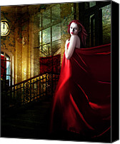 Abandoned  Digital Art Canvas Prints - Steps in Red Canvas Print by Karen Koski