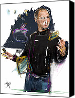 Celebrity Mixed Media Canvas Prints - Steve Jobs Canvas Print by Russell Pierce