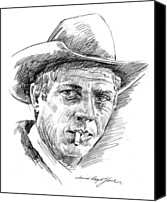 Celebrities Drawings Canvas Prints - Steve McQueen Canvas Print by David Lloyd Glover