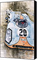 Racing Car Canvas Prints - Steve McQueens Porsche 917K Le Mans Canvas Print by Yuriy  Shevchuk