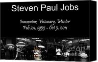 Ipod Canvas Prints - Steven Paul Jobs . Innovator . Visionary . Mentor . RIP . San Francisco Apple Store Memorial Canvas Print by Wingsdomain Art and Photography