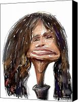 Caricature Mixed Media Canvas Prints - Steven Tyler Canvas Print by Russell Pierce