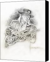 Pencil Drawing Canvas Prints - Stevie Ray Vaughan - Texas Twister Canvas Print by David Lloyd Glover