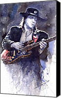 Stevie Ray Vaughan Canvas Prints - Stevie Ray Vaughan 1 Canvas Print by Yuriy  Shevchuk
