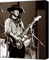 Blues Guitar Canvas Prints - Stevie Ray Vaughan 1984 - Sepia Canvas Print by Chris Walter