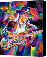 Blues Guitar Canvas Prints - Stevie Ray Vaughan Canvas Print by David Lloyd Glover