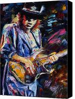 Guitar Painting Canvas Prints - Stevie Ray Vaughan Canvas Print by Debra Hurd