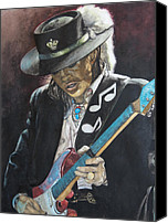 Guitar Painting Canvas Prints - Stevie Ray Vaughan  Canvas Print by Lance Gebhardt