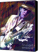 Blues Guitar Canvas Prints - Stevie Ray Vaughan Texas Blues Canvas Print by David Lloyd Glover
