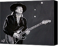 Blues Guitar Canvas Prints - Stevie Ray Vaughan Canvas Print by Tom Carlton