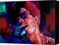 Music Tapestries Textiles Canvas Prints - Stevie Wonder Canvas Print by David Lloyd Glover
