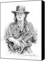 Stevie Ray Vaughan Canvas Prints - Stevies Blues Canvas Print by David Lloyd Glover