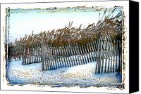 Sand Fences Canvas Prints - Stick Fences Canvas Print by Linda Olsen