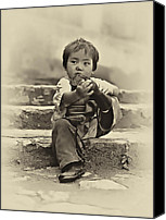 Tibetan Canvas Prints - Sticky Boot antique sepia Canvas Print by Steve Harrington
