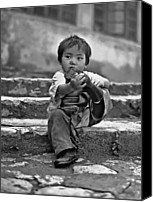 Tibetan Canvas Prints - Sticky Boot monochrome Canvas Print by Steve Harrington