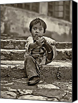 Tibetan Canvas Prints - Sticky Boot sepia Canvas Print by Steve Harrington