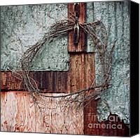 Old Wall Canvas Prints - Still Decorated With A Wreath Canvas Print by Priska Wettstein