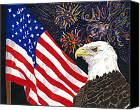 4th July Mixed Media Canvas Prints - Still Free Canvas Print by Joy Braverman