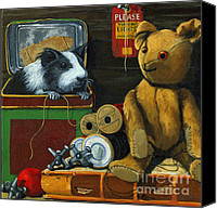 Pig Photo Canvas Prints - Still Life - Herman Finds A Friend Canvas Print by Linda Apple