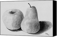 Fruits Drawings Canvas Prints - Still Life Apple Pear Canvas Print by Spiros Antonellos