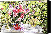 Arrangement Painting Canvas Prints - Still Life In The Artists Garden Canvas Print by David Lloyd Glover