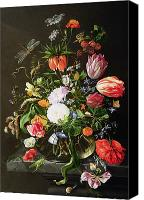 Still Life Canvas Prints - Still Life of Flowers Canvas Print by Jan Davidsz de Heem