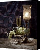 Wine Glass Photo Canvas Prints - Still Life Wine with Grapes Canvas Print by Tom Mc Nemar