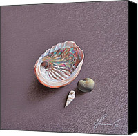 Elena Kolotusha Mixed Media Canvas Prints - Still life with Abalone Shell Canvas Print by Elena Kolotusha