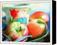 Still Life Pastels Canvas Prints - Still Life with Apples and Lavender Canvas Print by Sue Gardner