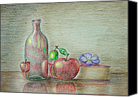 Fruits Drawings Canvas Prints - Still Life With Fruits Canvas Print by Thuraya R