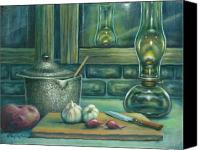 Oil Lamp Painting Canvas Prints - Still Life With Garlic Canvas Print by Colleen  Maas-Pastore
