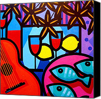 Lichtenstein Canvas Prints - Still Life With Guitar And Fish Canvas Print by John  Nolan