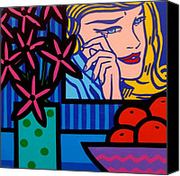 Lichtenstein Canvas Prints - Still Life With lichtensteins Crying Girl Canvas Print by John  Nolan