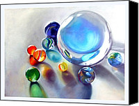 Still Life Pastels Canvas Prints - Still Life With Marbles 05 Canvas Print by Sue Gardner