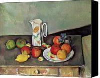 Kitchen Dresser Canvas Prints - Still life with milkjug and fruit Canvas Print by Paul Cezanne