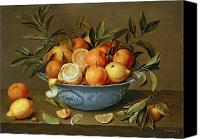 Lemon Painting Canvas Prints - Still Life with Oranges and Lemons in a Wan-Li Porcelain Dish  Canvas Print by Jacob van Hulsdonck