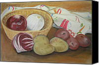 Still Life Pastels Canvas Prints - Still Life With Potatoes And Onions Canvas Print by Gitta Brewster