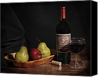 Still Life Pyrography Canvas Prints - Still Life with Wine Bottle Canvas Print by Krasimir Tolev