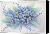 "\""forget Me Not Flowers\\\"" Canvas Prints - Stitched Forget-Me-Nots Canvas Print by Amy S Turner"