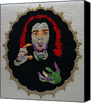 Embroidery Tapestries - Textiles Canvas Prints - Stitched Self Portrait #2 Canvas Print by Al Ligammari II