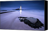 Guidance Canvas Prints - St.marys Lighthouse, Blue Hour Canvas Print by K.Arran - photomuso