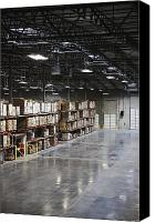Building Materials Canvas Prints - Stocked Shelves in a Factory Warehouse Canvas Print by Jetta Productions, Inc