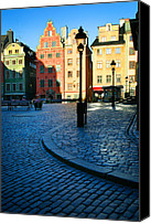 City Streets Canvas Prints - Stockholm Stortorget Square Canvas Print by Inge Johnsson