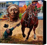 Horse Painting Canvas Prints - Stolen Land Canvas Print by John Lautermilch
