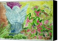 Angel Blues  Painting Canvas Prints - Stone Angel and Caladiums Canvas Print by Melanie Palmer