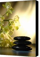 Shiny Photo Canvas Prints - Stone Cairn and Orchids Canvas Print by Olivier Le Queinec