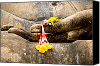 Thai Canvas Prints - Stone Hand Of Buddha Canvas Print by Adrian Evans