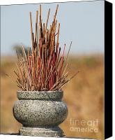 Stoneware Canvas Prints - Stone Incense Burner with Joss Sticks Canvas Print by Yali Shi