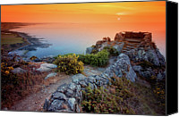 Stone Wall Canvas Prints - Stone Wall By Atlantic Ocean At Sunset Canvas Print by Haaghun